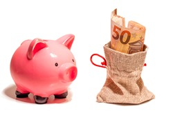 Isolated with white background fifty euro banknote in money bag. Piggy bank in close up. Finance concept