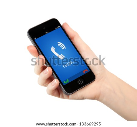 isolated woman hand holding a touch phone with blue screen and the phone ringing tube