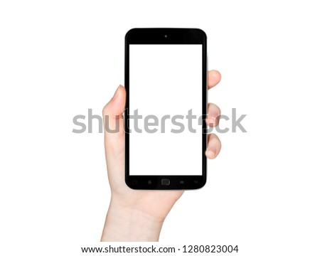 Isolated woman hand holding modern smartphone on white background 3d rendering #1280823004