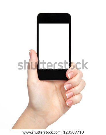 isolated woman hand holding the phone tablet touch computer gadget with isolated display