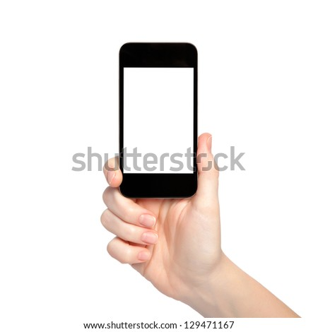 isolated woman hand holding the phone with isolated screen