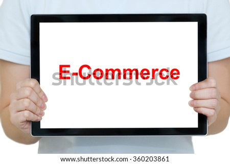 isolated woman  hands holding a tablet with e-commerce #360203861