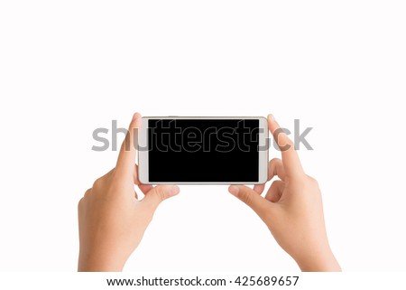 isolated woman hands taking photo by mobile phone