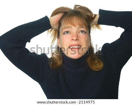 isolated woman with frustrated expression or pain