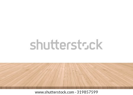 Isolated wood floor texture in light red brown color tone for product placement/ display on empty white wall background/ backdrop: Wooden table with timber edge in orange beige brown toned colour