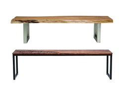 Isolated wooden and steel benches