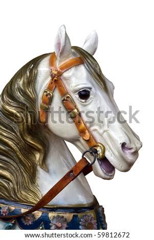 isolated wooden carousel horse on a merry-go-round