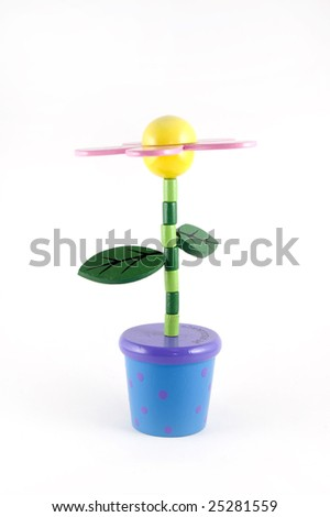 Isolated wooden flower toy