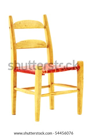 Isolated wooden kitchen chair with clipping path included.