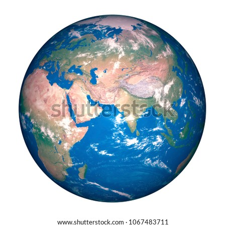 Isolated World illustration or rendering. You can sea continent of America, Asia, Europe, Africa and Australia. It's world map or earth illustration stock photo