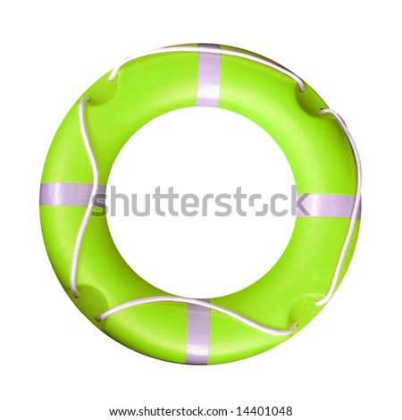 Isolated yellow green life buoy