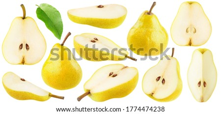 Isolated yellow pears collection. Pear fruit pieces of different shapes isolated on white background