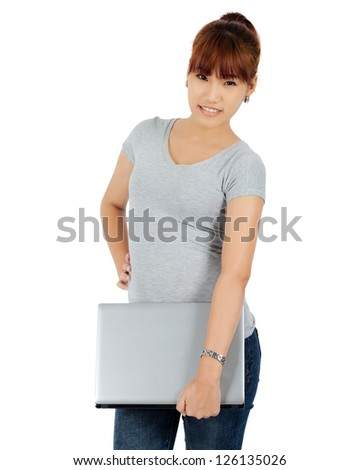 Isolated Young Asian Woman with a Laptop Computer