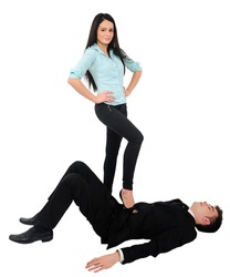 Isolated young business couple domination