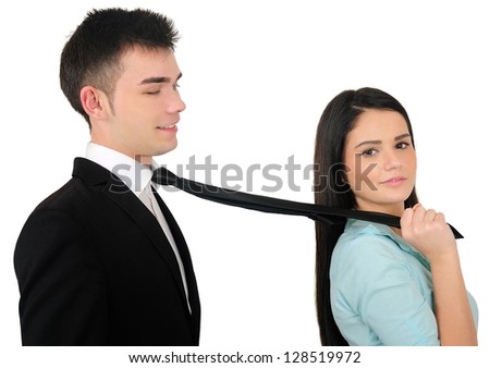 Isolated young business couple harassment