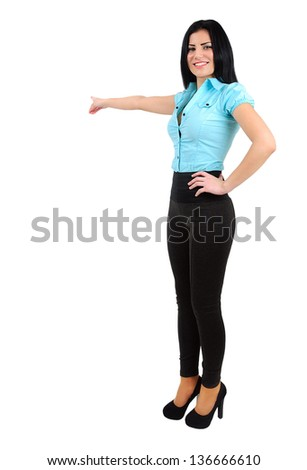 Isolated young business girl pointing