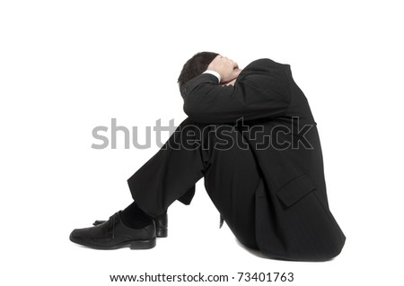 Isolated young business man on white