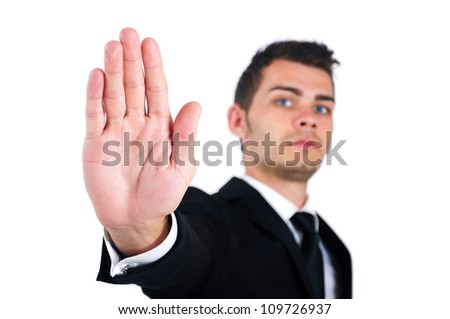 Isolated young business man refuse - stock photo