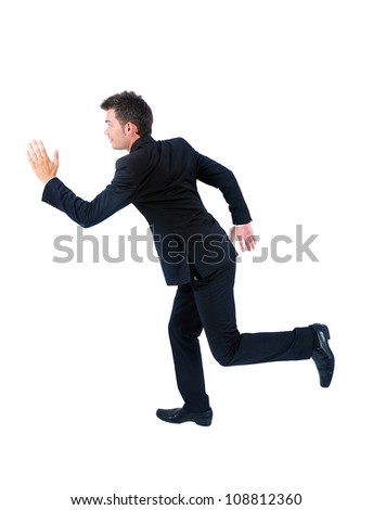 Isolated young business man running