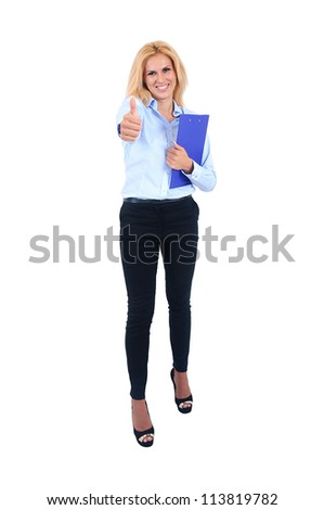 Isolated young business woman approve