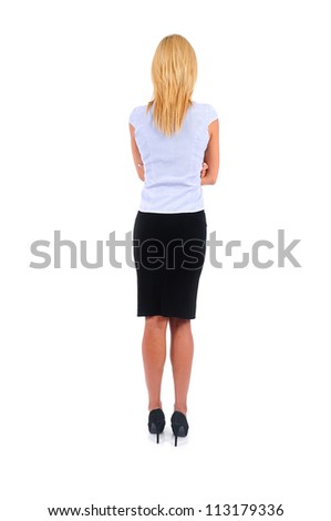 Isolated Young Business Woman Backview