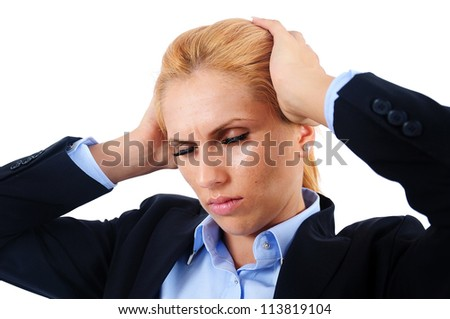 Isolated young business woman exhausted