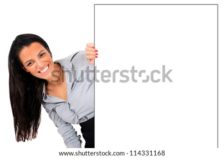 Isolated young business woman hiding wall