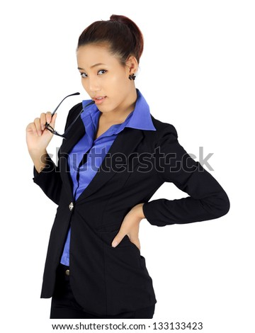 Isolated young business woman on white.
