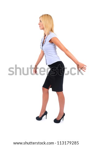 Isolated Young Business Woman Pulling