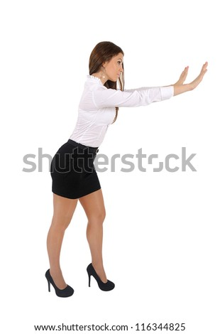 Isolated young business woman push