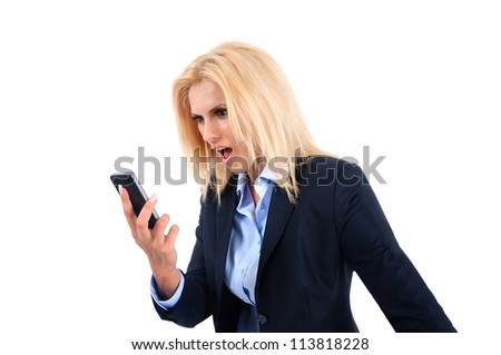 Isolated young business woman screaming phone