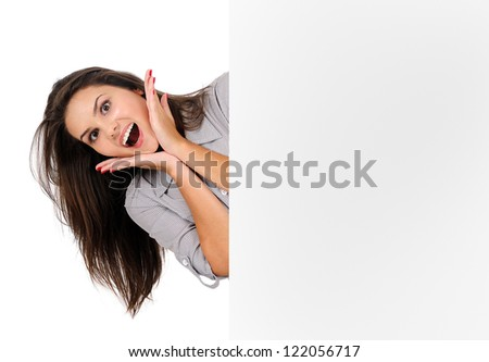 Isolated young business woman shocked
