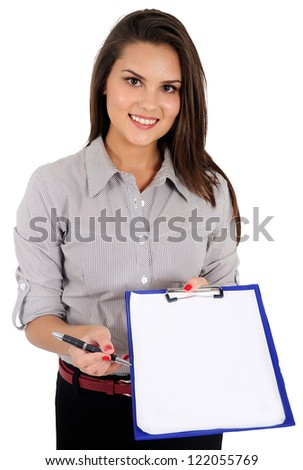 Isolated young business woman show clipboard