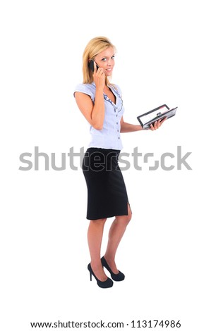 Isolated Young Business Woman Speaking at Phone