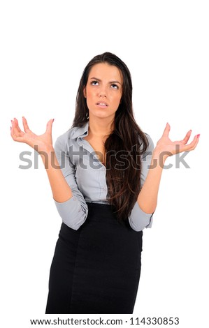 Isolated young business woman stressed