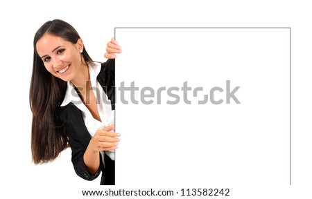 Isolated young business woman under wall