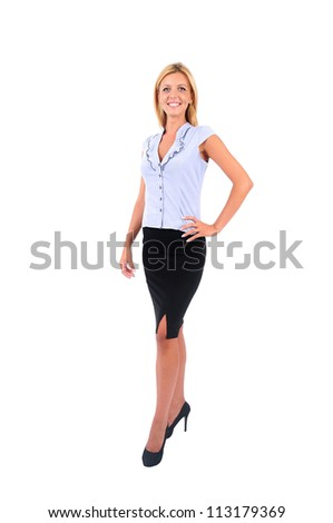 Isolated Young Business Woman Walking