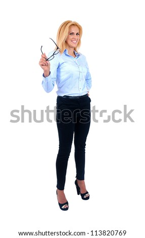 Isolated young business woman wih eyeglasses