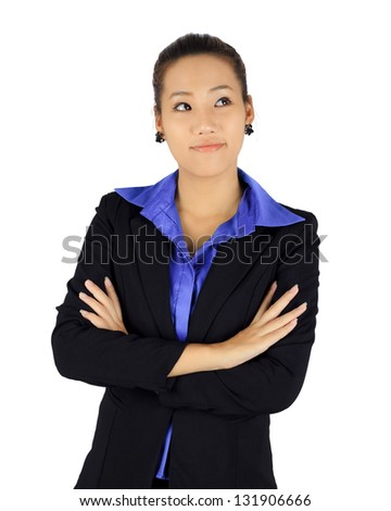 Isolated young business woman with thinking posture on white