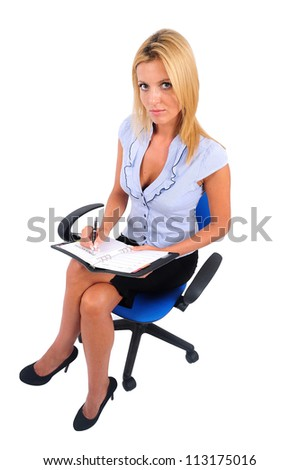 Isolated Young Business Woman Writing seat