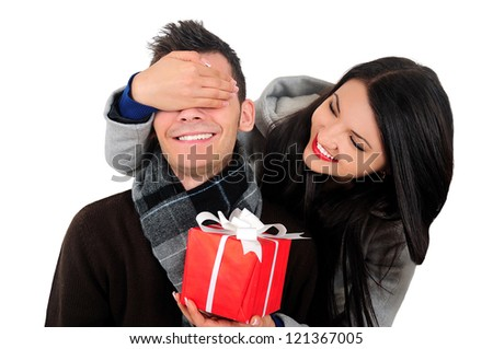 Isolated young casual couple surprising