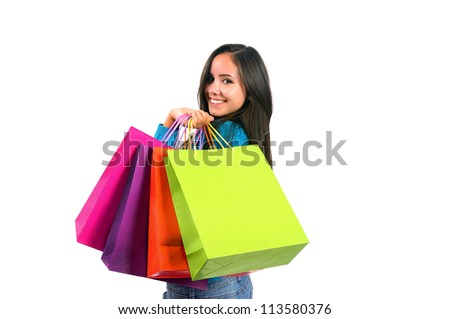 Isolated young casual girl with shopping bag