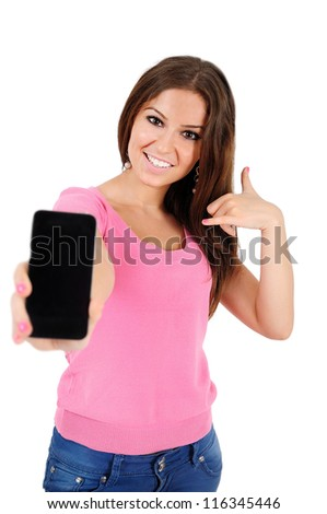 Isolated young casual woman call gesture