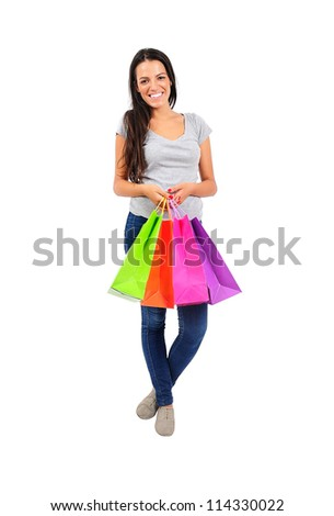 Isolated young casual woman standing - stock photo