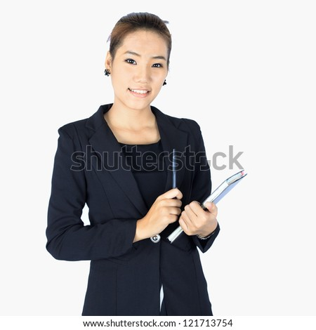 Isolated Young  Confidence Business Woman Holds a Pen and a Notebook
