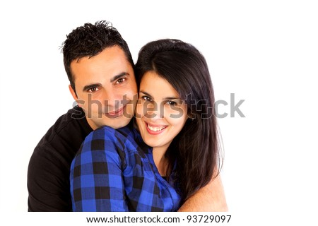 Isolated young couple hugging