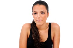 Isolated young fitness woman portait