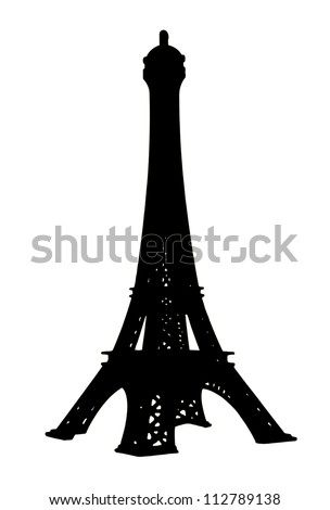 Isolates of the Eiffel Tower to the small toys which are colored black.