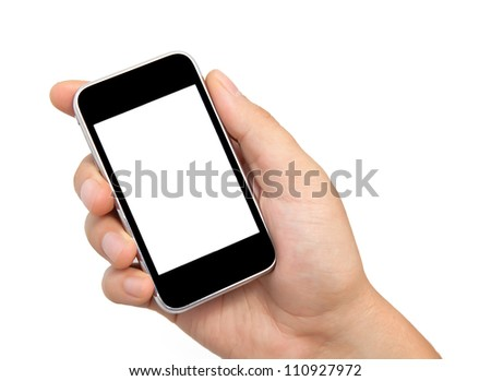 Isolation man hand holding the phone tablet touch computer gadget