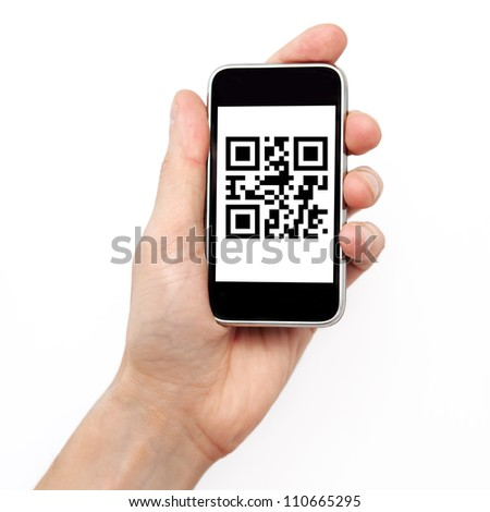 Isolation man hand holding the phone tablet touch computer gadget with qr code